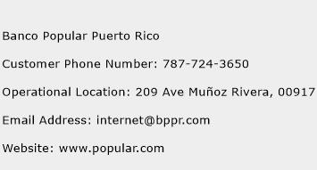Banco Popular Puerto Rico Phone Number Customer Service