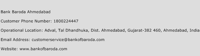 Bank Baroda Ahmedabad Phone Number Customer Service