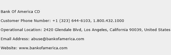 Bank Of America CD Phone Number Customer Service