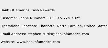 Bank Of America Cash Rewards Phone Number Customer Service