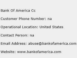 Bank Of America Cc Phone Number Customer Service