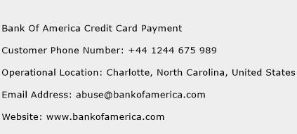 Bank Of America Credit Card Payment Phone Number Customer Service