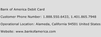Bank Of America Debit Card Phone Number Customer Service