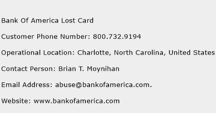 Bank Of America Lost Card Phone Number Customer Service