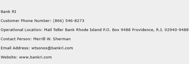 Bank RI Phone Number Customer Service