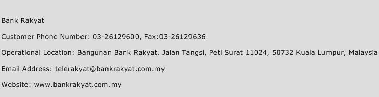 Bank Rakyat Phone Number Customer Service