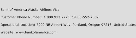 Bank Of America Alaska Airlines Visa Customer Service