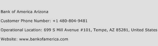 Bank of America Arizona Phone Number Customer Service