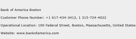 Bank of America Boston Phone Number Customer Service