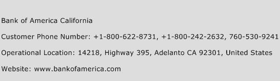 Bank of America California Phone Number Customer Service
