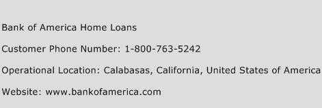 Bank of America Home Loans Phone Number Customer Service