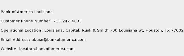 Bank of America Louisiana Phone Number Customer Service