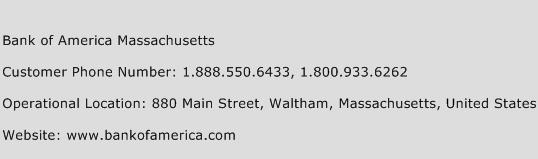 Bank of America Massachusetts Phone Number Customer Service