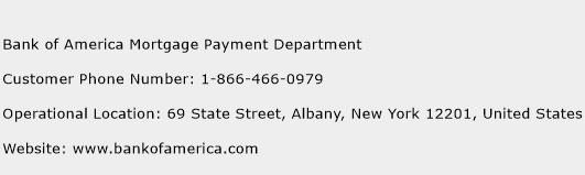 Bank of America Mortgage Payment Department Phone Number Customer Service