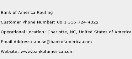Bank of America Routing Phone Number Customer Service