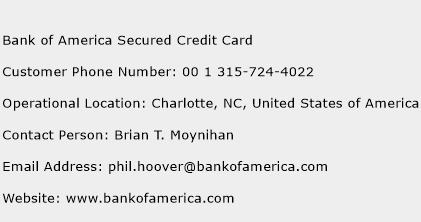 Bank of America Secured Credit Card Phone Number Customer Service