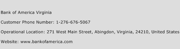 Bank of America Virginia Phone Number Customer Service