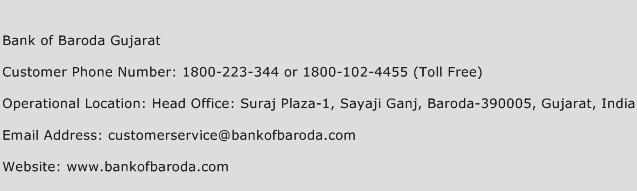 Bank of Baroda Gujarat Phone Number Customer Service