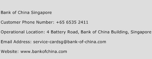 Bank of China Singapore Phone Number Customer Service