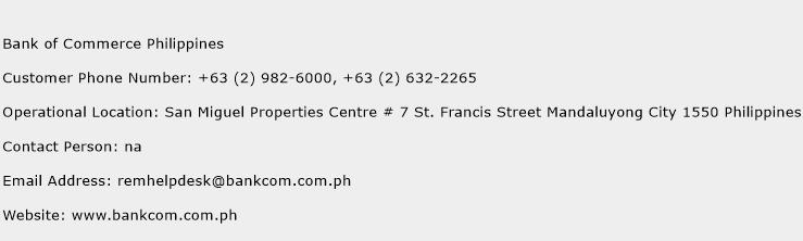 Bank of Commerce Philippines Phone Number Customer Service