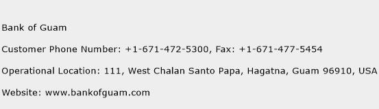 Bank of Guam Phone Number Customer Service