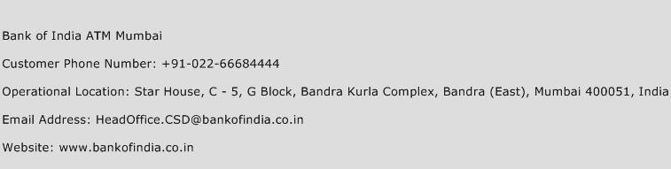Bank of India ATM Mumbai Phone Number Customer Service