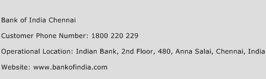 Bank of India Chennai Phone Number Customer Service