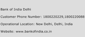 Bank of India Delhi Phone Number Customer Service