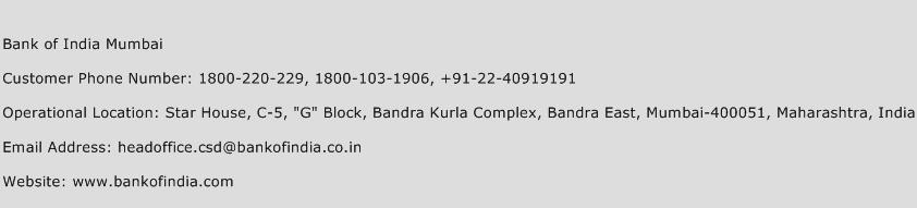 Bank of India Mumbai Phone Number Customer Service