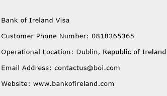 Bank of Ireland Visa Phone Number Customer Service