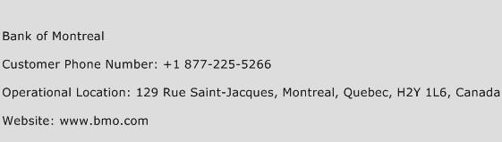 Bank of Montreal Phone Number Customer Service