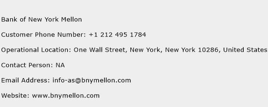 Bank of New York Mellon Phone Number Customer Service