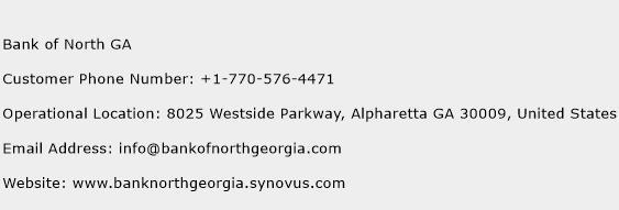 Bank of North GA Phone Number Customer Service