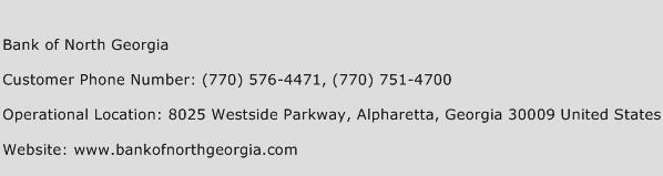 Bank of North Georgia Phone Number Customer Service