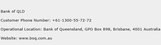 Bank of QLD Phone Number Customer Service