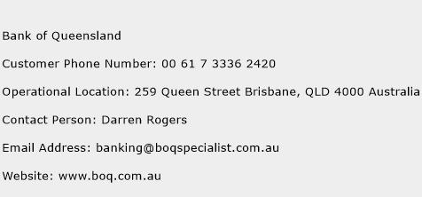 Bank of Queensland Phone Number Customer Service