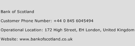 Bank of Scotland Phone Number Customer Service