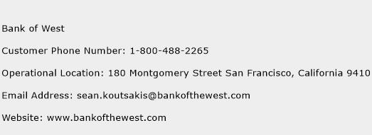 Bank of West Phone Number Customer Service