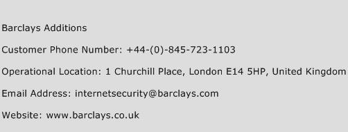 Barclays Additions Phone Number Customer Service