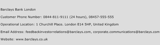 Barclays Bank London Phone Number Customer Service