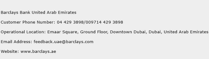Barclays Bank United Arab Emirates Phone Number Customer Service