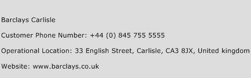 Barclays Carlisle Phone Number Customer Service