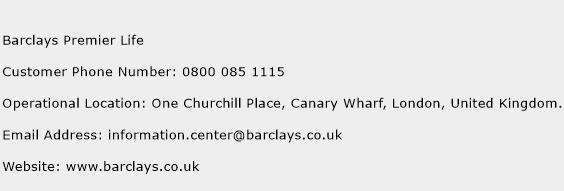 Barclays Premier Life Phone Number Customer Service