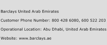 Barclays United Arab Emirates Phone Number Customer Service