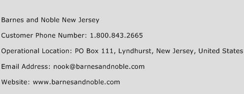 Barnes and Noble New Jersey Phone Number Customer Service