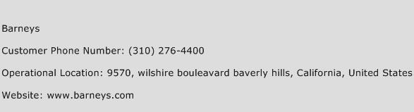 Barneys Phone Number Customer Service