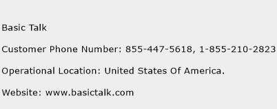 Basic Talk Number   Basic Talk Customer Service Phone Number