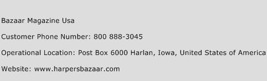 Bazaar Magazine Usa Phone Number Customer Service