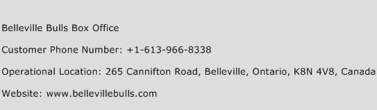 Belleville Bulls Box Office Phone Number Customer Service