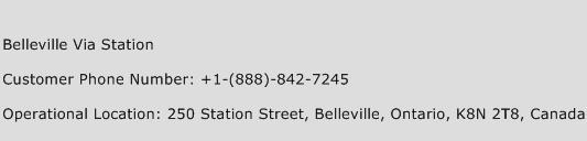 Belleville Via Station Phone Number Customer Service